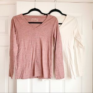 Eddie Bauer Set of 2 LS Tees Cream Pink Medium
